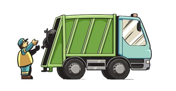 Ikonka przedstawiająca rysunek śmieciarki i obsługi