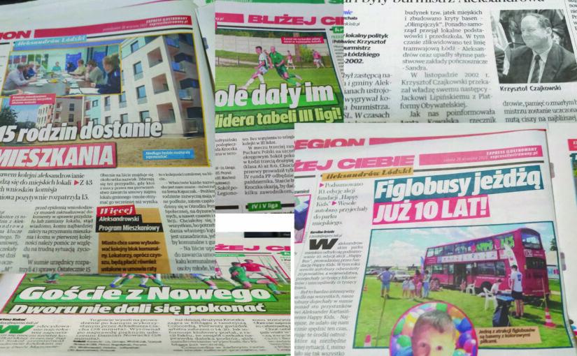 Na obrazku znajdują się zdjecia artykułów o Aleksandrowie Łódzkim z prasy regionalnej.