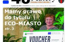 Pierwsza strona gazety na której jest skarbnik Iwona Dąbek z nagrodą