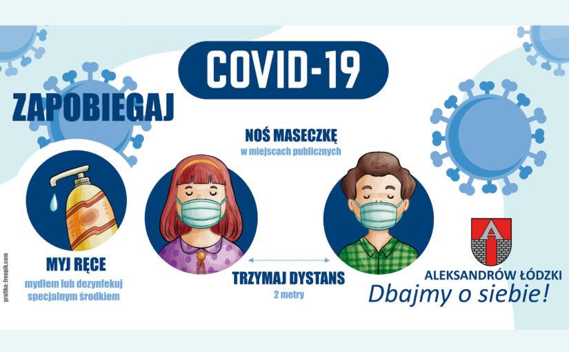 Grafika promująca prawidłowe zachowanie w czasie pandemii koronawirusa.