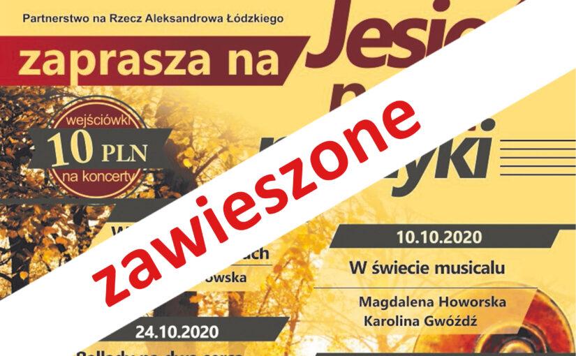 """grafika informująca o zawieszeniu koncertów """"Jesień pełna muzyki"""""""