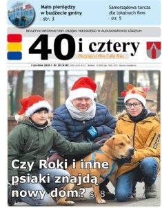 """Obrzazek przedstawia pierwszą stronę gazety """"40 i cztery"""" na której Burmistrz Jacek Lipiński z dwoma chłopcami w czapkach mikołajów przedstawiają psa do adopcji"""