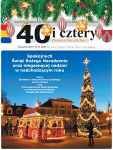 1 strona numeru przedstawiająca dekoracje świąteczne na tle ratusza
