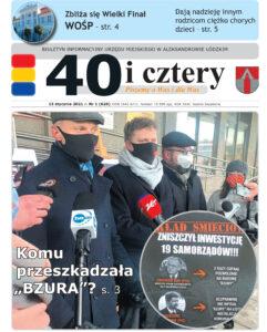 Pierwsza strona 1 umeru gazety z 2021 roku przedstawiająca uczestników konferencji w sprawie ZM Bzura przed Urządem Marszałkowskim w Łodzi