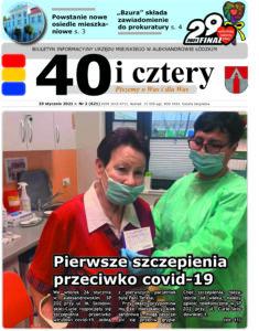 """Pierwsza strona gazety """"40 i cztery"""" na której znajduje się pani Teresa, jedna z pierwszych zaszczepionych oraz pielęgniarka"""