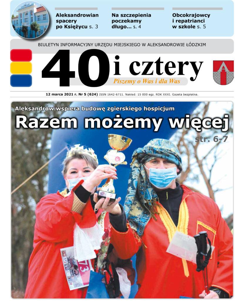Pierwsza strona gazety 40 i cztery, na któtej są uczestnicy Biegu zakochanych z pucharem