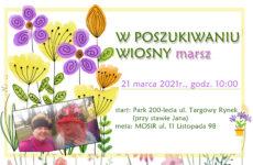 """Grafika promująca Wiosenny marsz w kapeluszach """"W poszukiwaniu wiosny"""""""
